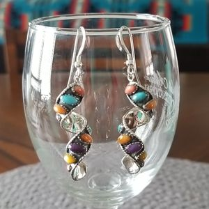 Multi Gemstone Swirl Earrings